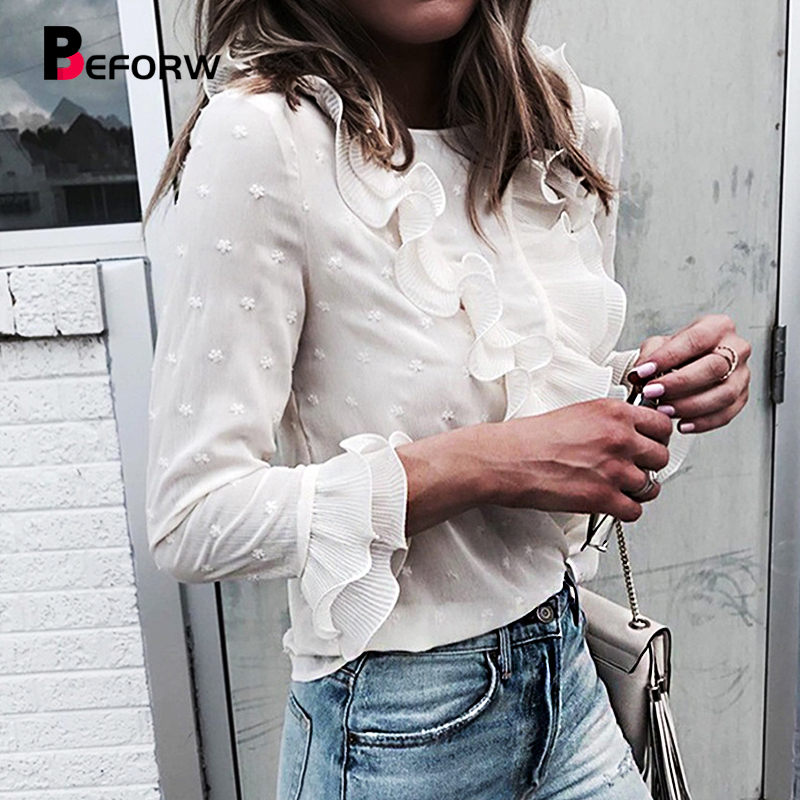 BEFORW Sexy Transparent   Blouses     Shirt   Fashion Polka Dot White Tops And   Blouse   Ruffles Butterfly Sleeve   Shirts   Women Clothes