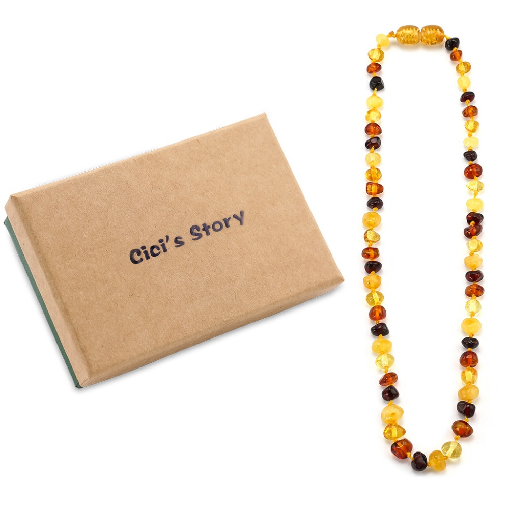 Amber Teething Necklace for Baby (Multicolor) - 3 Sizes - Natural Stone Diy Beads Necklace - Baby Accessories - Lab Tested