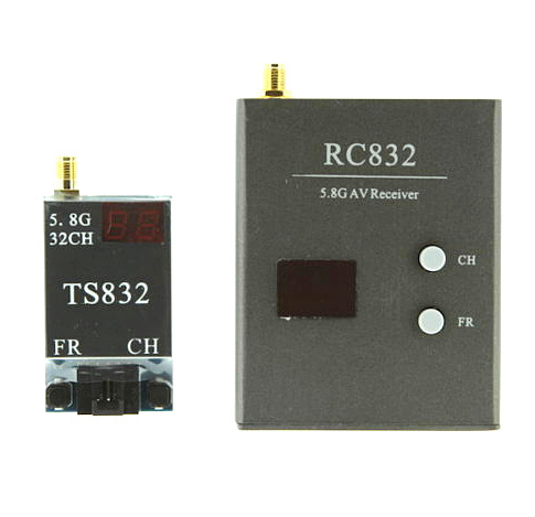 Free Shipping  RC 32CH 5.8G 600mW 5KM A/V Transmitter TS832 Receiver RC832 FPV TX & RX Radio System new fr632 diversity 5 8ghz 32ch auto scan lcd a v receiver for fpv 5 8g tx transmitter