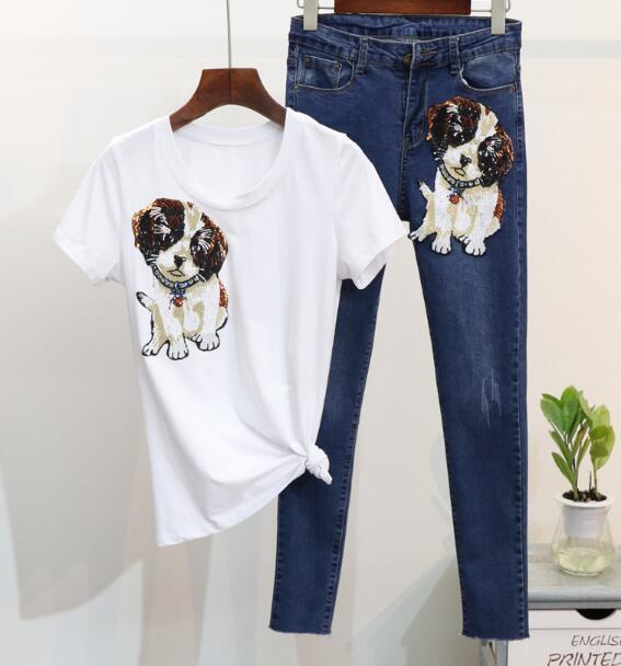 2018 Primavera Moda 2 Piezas Trajes de Jeans Cartoon Dog Tshirt Tops - Ropa de mujer