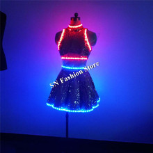 QZ05 Women led light costumes nightclub bar singer dance wears dresses luminous skirt colorful light RGB clothes party evening