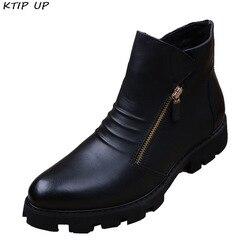 ماركة الرجال بوتاس Hombre حذاء من الجلد موضة الرجال الجلود تشيلسي أحذية الرجال الانزلاق Ons دراجة نارية رجل الأحذية الدافئة الرجال أحذية عمل