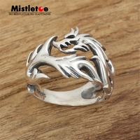Genuine 100 925 Sterling Silver Vintage Punk Locomotive Flame Dragon Ring For Women Men Fashion Jewelry