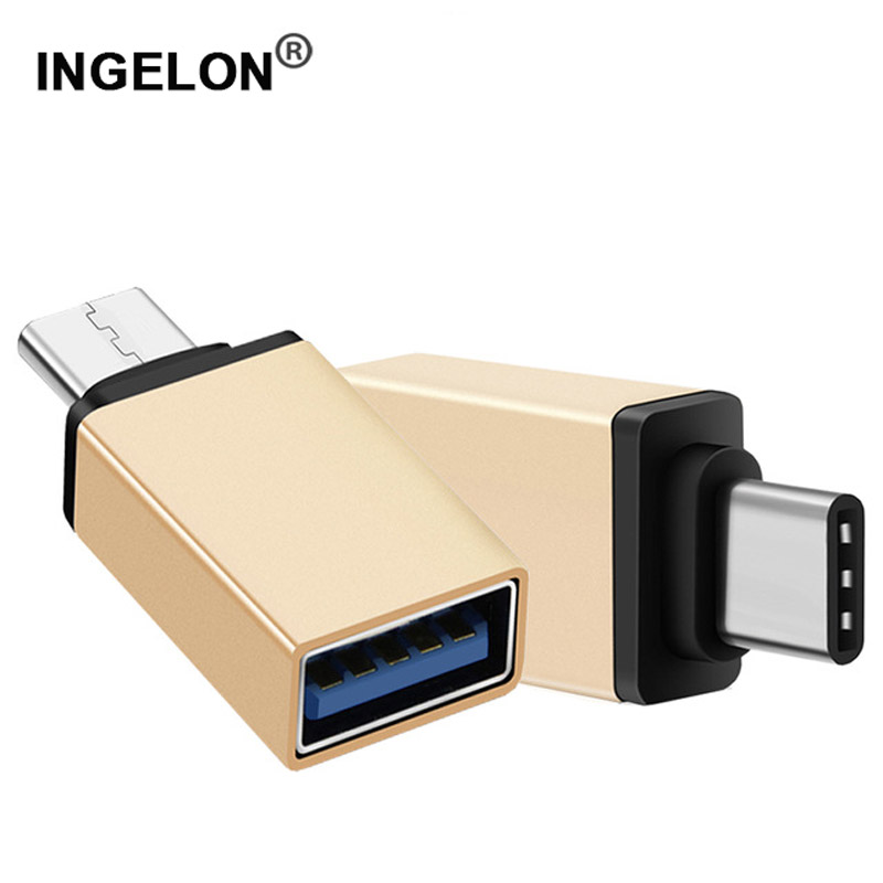Type C OTG USB 3.0 Gold Adapter Converter For Android Samsung Huawei P20 Phone OTG Adapter Type-C To USB3.0 Metal  Adaptador Usb