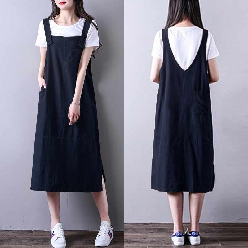 1d1336e08c Women Vintage Linen Dress ZANZEA 2018 Overalls Strappy Tank Dresses  Suspender Overalls Beach Sundress Party Vestido