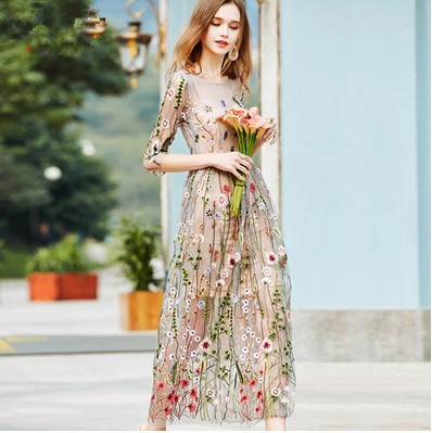 Embroidery Party Dresses Runway Floral Bohemian Flower Embroidered 2 Pieces Vintage Boho Mesh Dresses For Women Vestido D75905 1