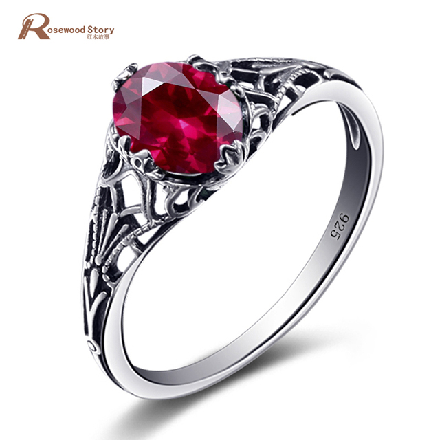 High Quality Charms Handmade Created Ruby Stone Ring Real 925 Sterling Silver Vintage Rings for Women Rose Jewelry bague femme