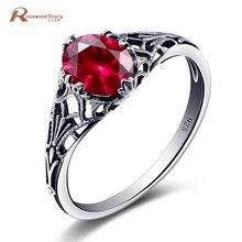 e89cae94657d Alta calidad hecha a mano creado rubí anillo de piedra Real de plata  esterlina 925 Vintage anillos para las mujeres Rose joyería.