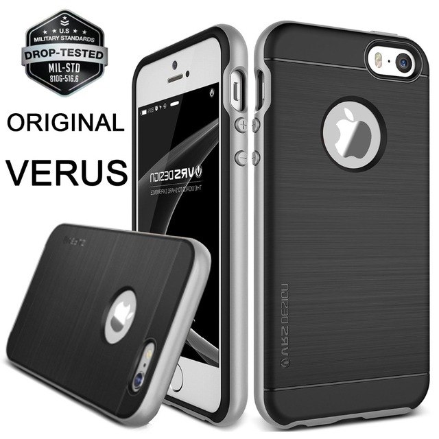 buy online bba3e c6afe US $22.99 |VERUS For Apple iPhone SE Case Hard PC Frame Metal Brushed  Silicone Back Shockproof Cover For iPhone 5 5S 6S Plus Armor Cases on ...