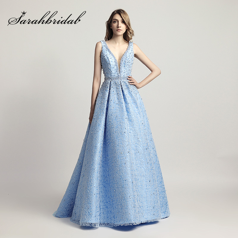 Heavy Pearls Beaded Luxury Ball Gown Celebrity Dresses Sexy V-Neck Red Carpet Dress Sky Blue Formal Evening Party Gowns OL442 gown