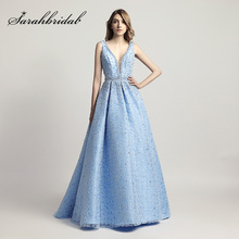 ФОТО Heavy Pearls Beaded  Ball Gown Celebrity Dresses Sexy V-Neck Red Carpet Dress Sky Blue mal Evening Party Gowns LX442