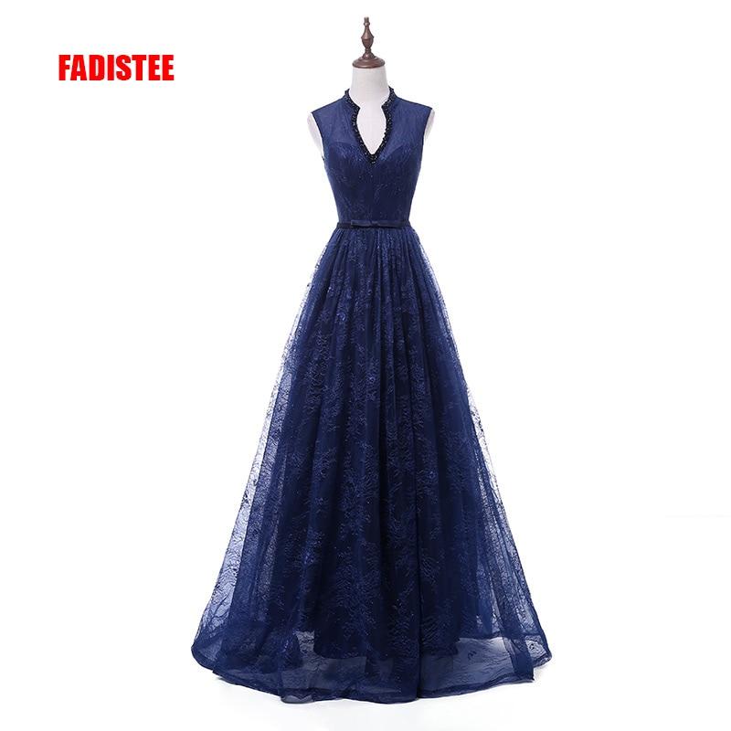 FADISTEE 2018 New arrival elegant party dress evening dresses Vestido de Festa gown V-neck with beading