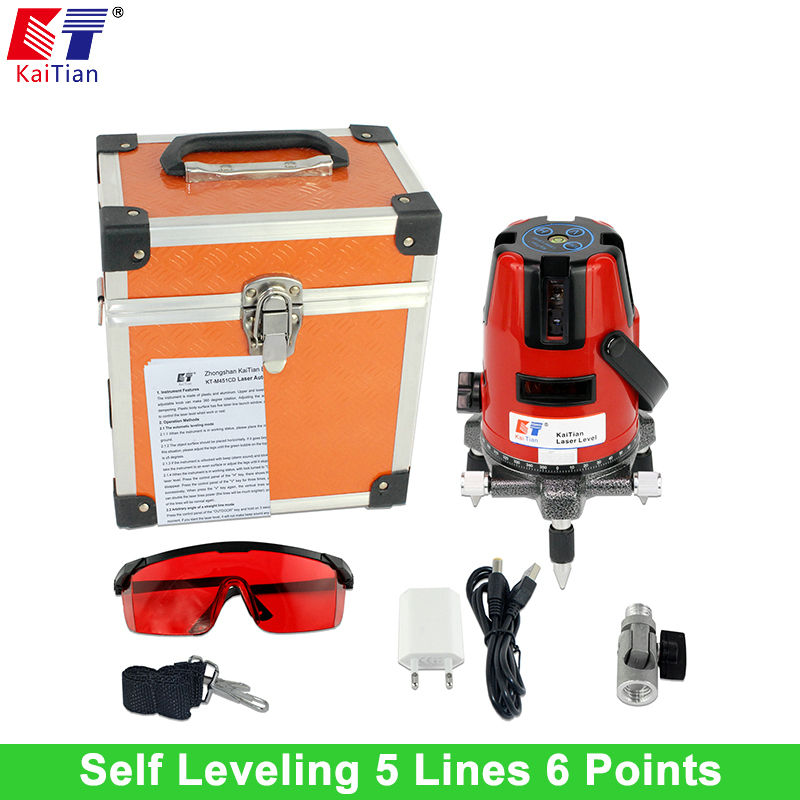 Kaitian Laser Level with 360 Rotary Tilt Function and Outdoor EU 635nM Vertical & Horizontal Lasers 5 Lines 6 Points Lazer Level лазерный уровень kaitian 635nm 5 6 5 lines 6 points laser level