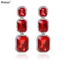 Bestessy Trendy Big Crystal Drop Earring For Women 2018 New Fashion Rhinestones Earrings Best Friends Gift Statement Jewelry