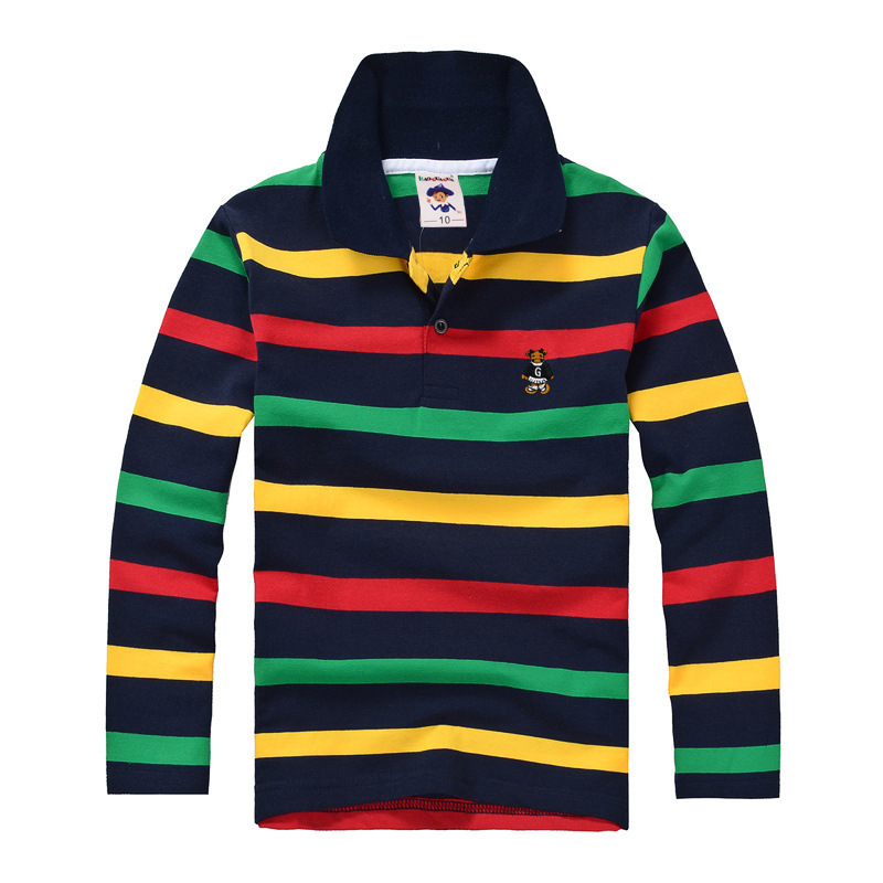 Top quality kids children boy t shirt kid boys clothing long sleeve cotton striped children's T-shirts 2 4 6 8 10 12 14 years цены