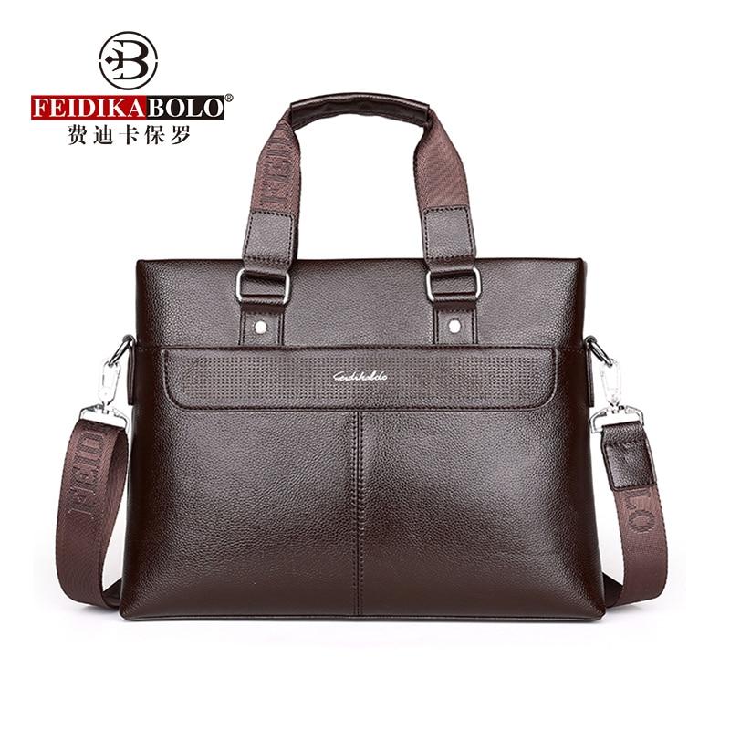 FEIDIKABOLO Fashion Men Handbags Business Briefcase Laptop Bag PU Leather Crossbady Bag Men Handbags Male Designer Shoulder Bags