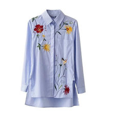 a12ffbf3 Womail Women Long Sleeve Blouse Stripe Embroidery Floral Irregular Shirts  Polyester Spring Casual shirt Gift Jan 12 Drop Ship
