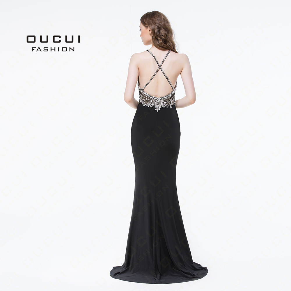 Handmade Beading Open front Long Evening Dress Halter Back Cross prom  dresses Party Crystal Mermaid OL102980 fd94abe0b55f