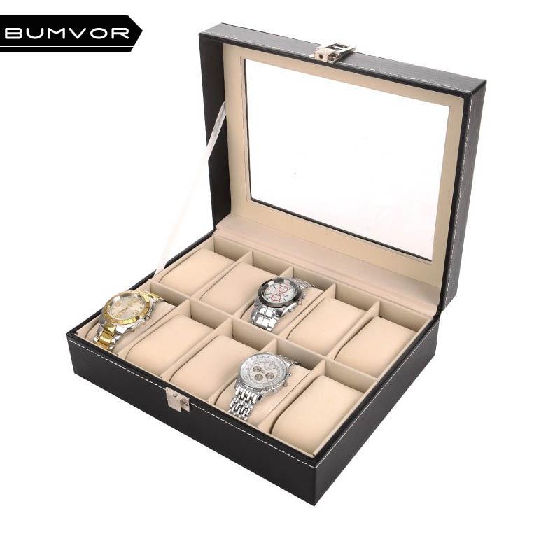 все цены на 2018 New Fashion Watch Display Box Luxury 10 Grids Watch Box Case Luxury Jewelry Pu Leather Watch Box Organizer Storage
