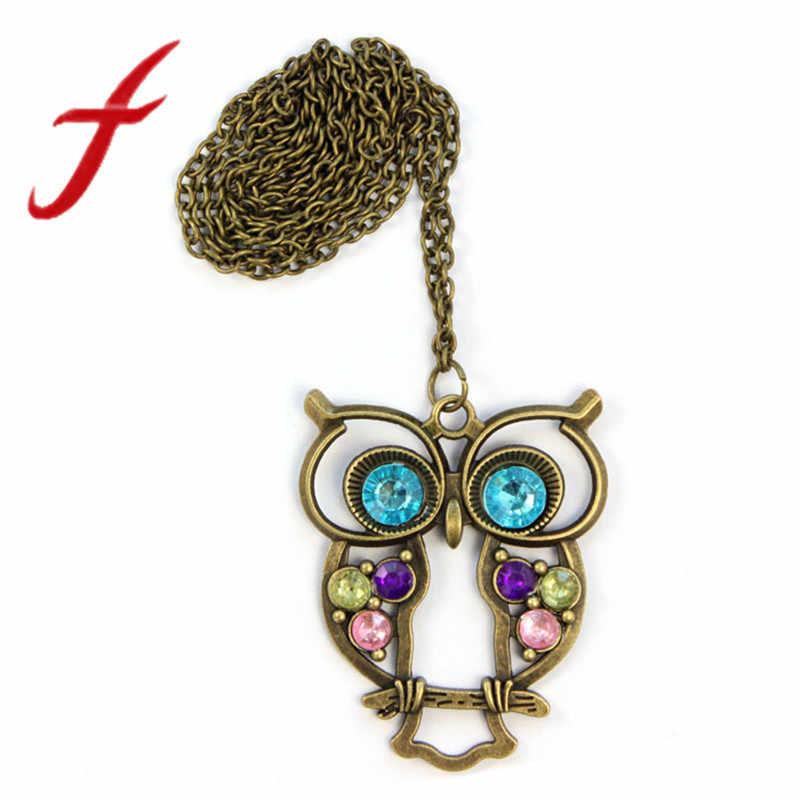 Ретро ювелирные изделия Винтаж античная бронза сова с большими глазами ожерелье с подвеской длинноцепочечный котел подарок длинные Аксессуары для свитера Новинка