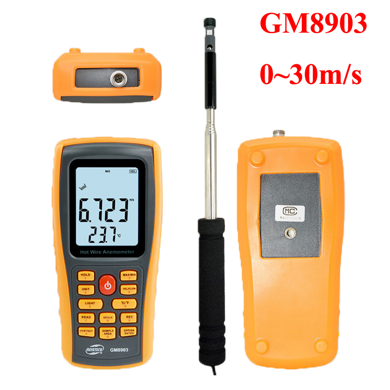 GM8903 Hot Wire Anemometer Thermal Wind Speed Gauge Temperature Measurement USB Interface Tool Measuring Instrument