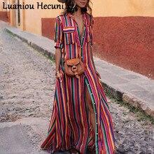 CHU Ni Полосатое длинное платье-рубашка с принтом женское длинное платье с отложным воротником на пуговицах карманы элегантное платье женское платье Vestdios L077
