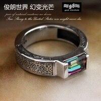 Мужское классическое Высокопрочное кольцо из разноцветного камня с квадратным 925 серебряным кольцом для мужчин, тайское серебро, винтажные