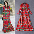 New 2017 Spring Summer Plus Size XXXL Royal Maxi Long Dress Red Flower Printed Royal Bohemian Vintage Dresses High Quality