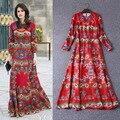 Novo 2017 primavera verão plus size xxxl real longo maxi dress flor vermelha impressa real bohemian vestidos vintage de alta qualidade