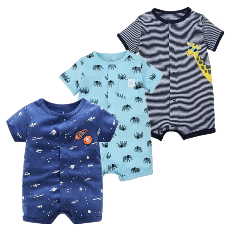 summer   Rompers   Baby boys clothes Short sleeve Boys Cartoon Animal Pajamas Cotton Jumpsuit Baby Girls Clothes Roupas Menino