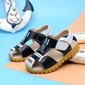 2016 новый стиль мальчиков детей кожаные сандалии летние дышащая кроссовки wrap палец маленький Ребенок детская одежда обувь Для 21-30 размер
