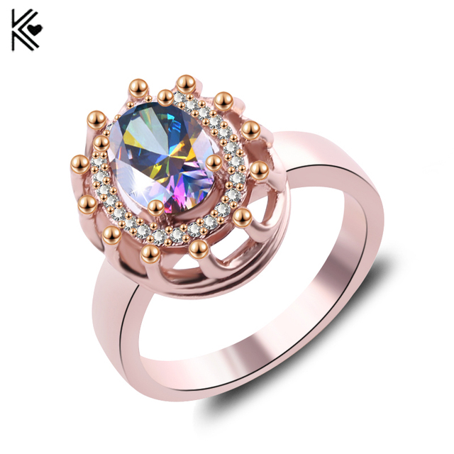 Big oval colorful stone crystal zircon vintage wedding rings for men big oval colorful stone crystal zircon vintage wedding rings for menwomen rose gold color junglespirit Choice Image