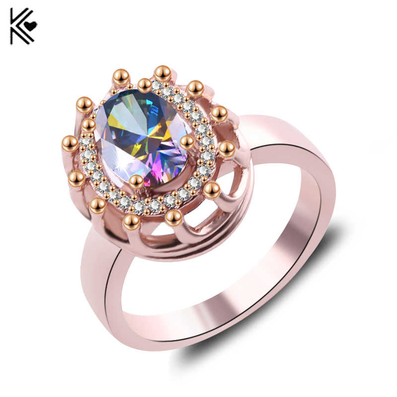 Big Oval Colorful Stone Crystal Zircon Vintage Wedding Rings For Men/Women Rose Gold Color Ring Red Jewelry Fashion Accessories