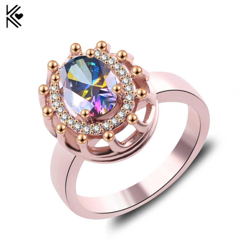 รูปไข่ขนาดใหญ่ที่มีสีสันหินคริสตัล Zircon Vintage แหวนผู้ชาย/ผู้หญิง Rose Gold สีแหวนเครื่องประดับสีแดงแฟชั่นอุปกรณ์เสริม
