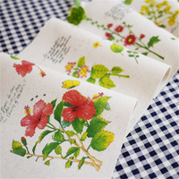 2016 New High Quality 4pcs 20*20cm Flower series Hand Dyed Cotton Linen Fabric For Diy Sewing Patchwork Cloth Apron Hand Bags