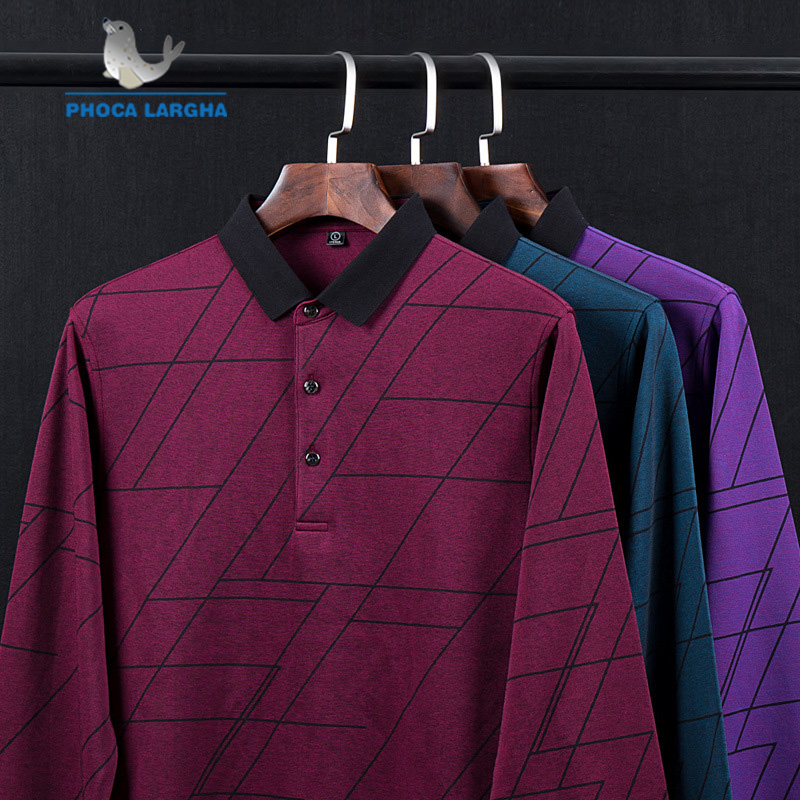 New Men's   Polo   Shirts Geometric High Quality Tops For Man Long Sleeve Shirts Solid Color Business Casual Brand   Polos   para hombre