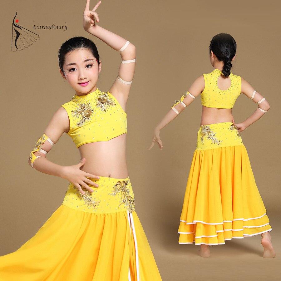 Deux couleurs Chil ren orentiel danse du ventre vêtements 4 pièces Bollywood danse Costumes pour les filles