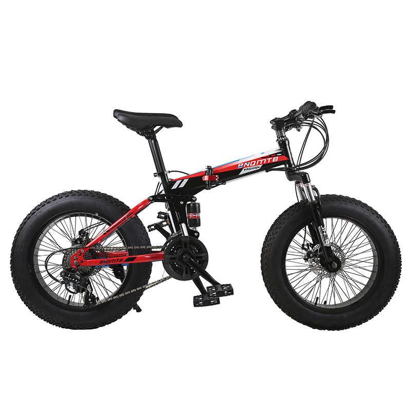 """KUBEEN Снег велосипед складной mtb 20 """"7 21 24 27 скорость двойной диск горный жир подвеска велосипеда стальная рама 4"""" Шины алюминиевые колеса"""