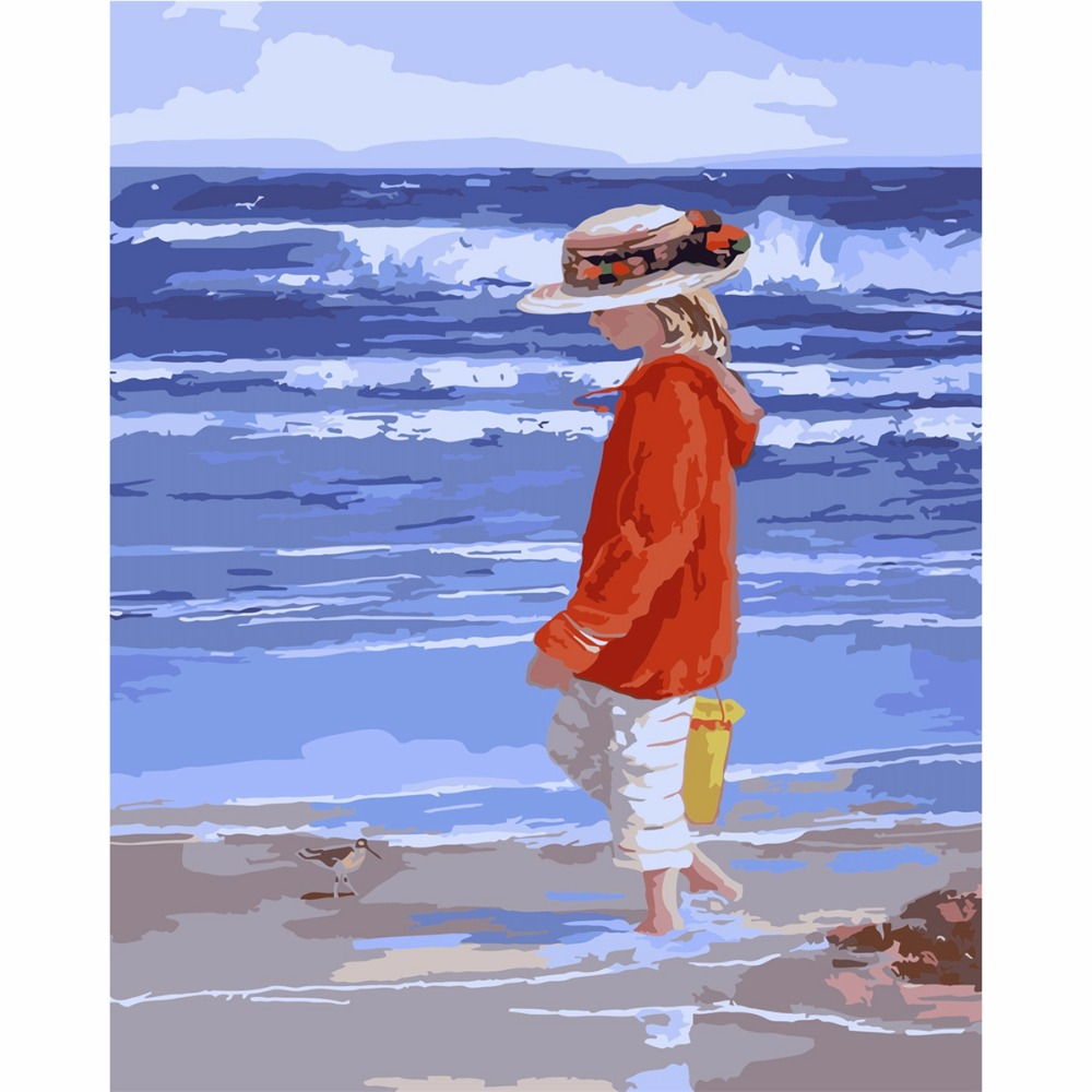 Frameless Girl On The Beach Diy Oil Painting By Numbers Kits Wall ...