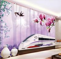 3d hình nền tuỳ chỉnh ảnh wallpaper livingroom bức tranh tường flower bird express train sơn sofa TV nền hình nền cho tường 3d