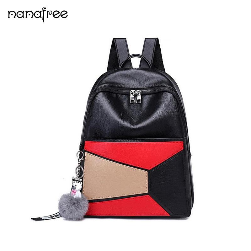 Nanafree Brand Womens Backpack Anti-theft Women Mens Bags Multifunction Shoulder School Travel Backpack with Headphone Jack