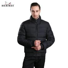 HERMZI 2019 High Quality Winter Jacket Men Fashion Jackets Cotton Coat Autumn Stand Collar European Size Black Free Shipping цена 2017