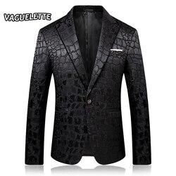 Мужской блейзер с узором «крокодиловая кожа», черные вечерние приталенные жакеты с вышивкой, модные блейзеры для DJ Homme, одежда для мужчин, 2019