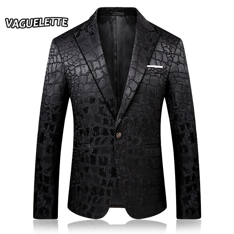 Elegante padrão de crocodilo blazer masculino preto fino ajuste traje dj homme bordado vestido de festa dos homens moda blazer jaquetas M-4XL