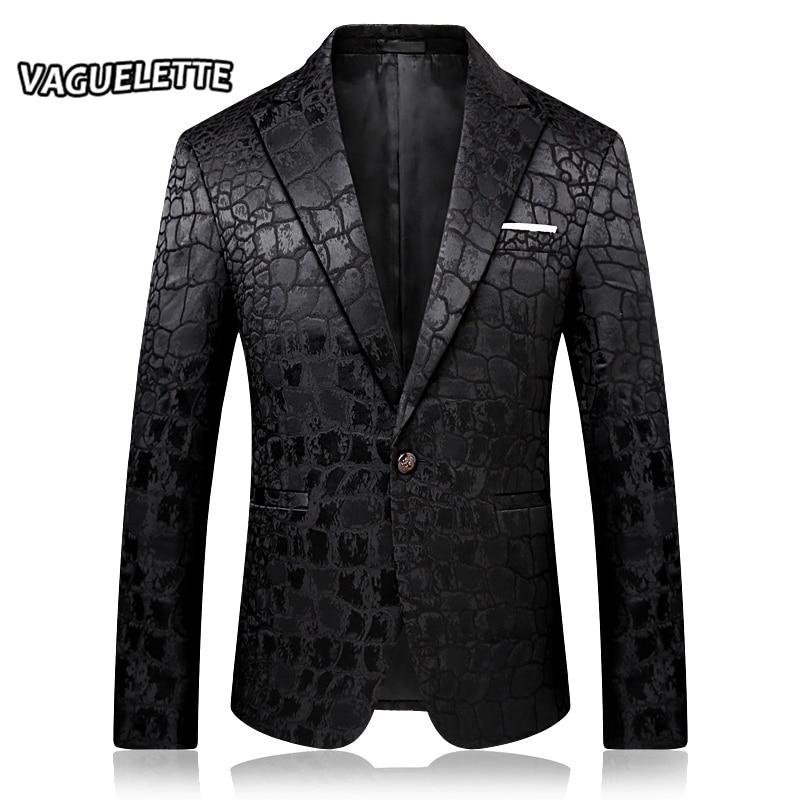 Stylish Crocodile Pattern Blazer Men Black Slim Fit Costume DJ Homme Embroidered Party Dress Mens Fashion Blazer JacKets M-4XL