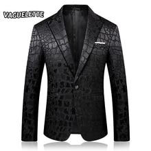 Stylish Crocodile Pattern Blazer Men Black Slim Fit Costume DJ Homme Embroidered
