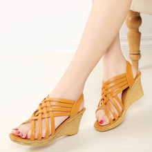 Women Sandals Mid Heels Elastic Band Fish Mouth Gladiator Wedge Platform Summer Shoes Cross-tied Leather PU Yellow Black Sandals недорого