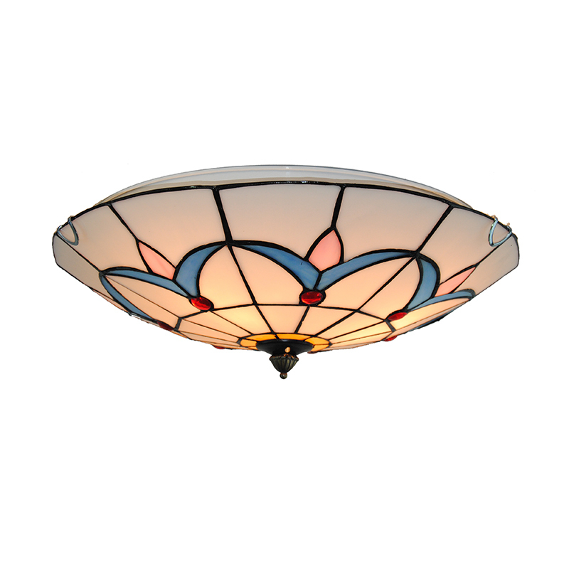 European Style Simple Blue Grass Pattern Flush Mount Lights E26/E27 Bulb Tiffany Stained Glass Bedroom Dining Room Lighting C272