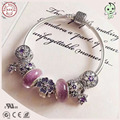 Top Quality Fashion Fitting Original Famous Brand Luxuxious Silver Purple Flower Charm Series 925 Pure Silver Charm Bracelet