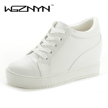 WGZNYN 2018 New Fashion Style PU Leather Women Shoes Increased Internal Ladies Shoes White Black High Quality